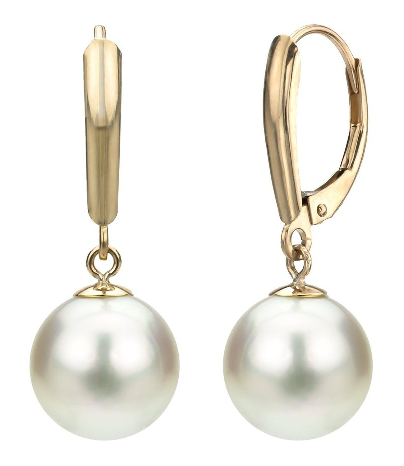 14k Yellow Gold 910mm White Round Cultured Freshwater Aaa Quality High  Luster Pearl Lever