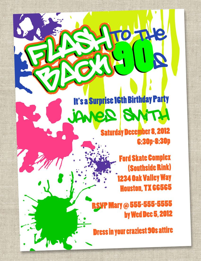 Graffiti Birthday Invitations Neon Party Invitation Retro 80s