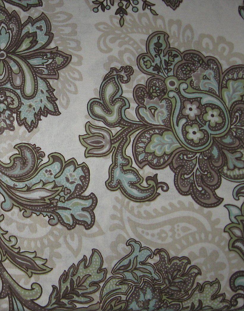 Peri Marietta Fl Paisley Brown Blue Green Tan Shower Curtain Pattern