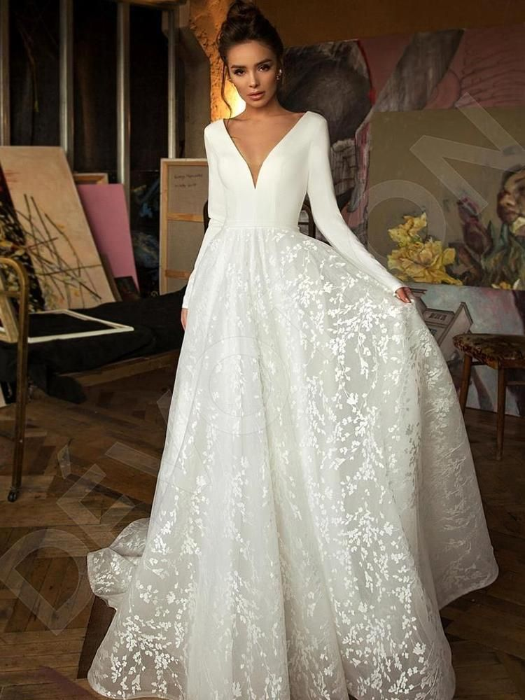 onlybridals Vintage Long Sleeve Lace Satin Wedding Dress Sexy Deep V Neck Backless Bride Dress for Wedding 1