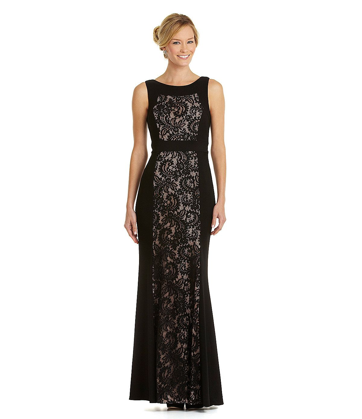 Mog dress js collections lace panel gown dillards wedding