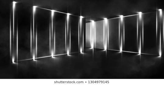 of empty room lamps neon light smoke fog 3D ckground of empty room lamps neon light smoke fog 3D rendering Projection lights sources Abstract Light reflection on metal bo...