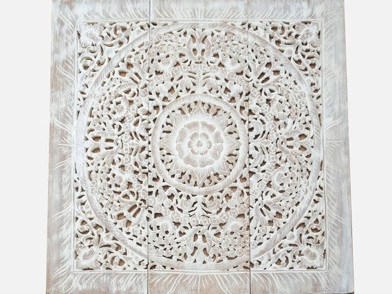 White Wash Wall Art Panelling Carved Wood Panel Asian Home Decorating Lotus Wood Wall Hanging Carved Wood Wall Art White Wood Wall Decor Wood Wall Art Decor
