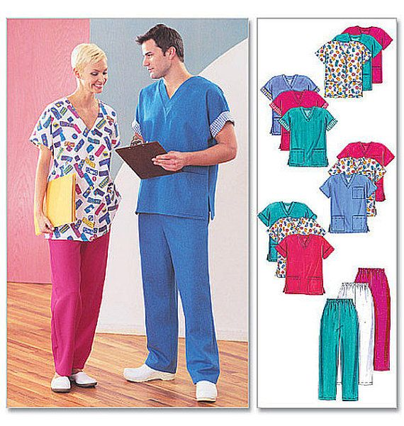 Scrubs Pattern for Men and Women, McCall\'s M3253 Size XL XXL ...