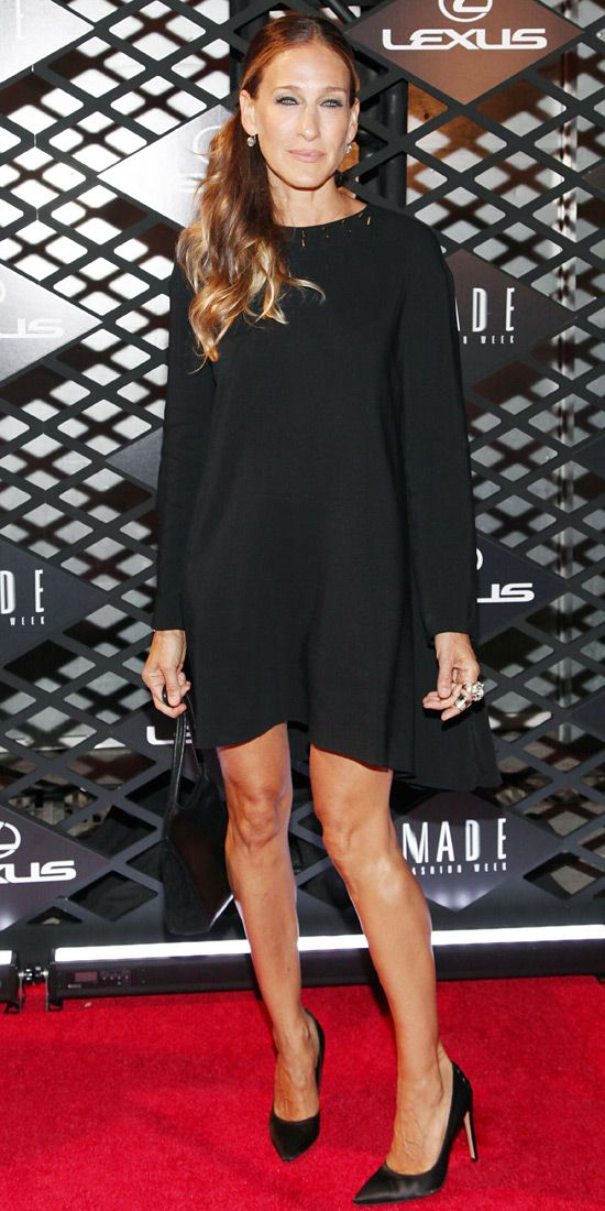 Sarah Jessica Parker in black Giles dress and black Gianvito Rossi heels with Fred Leighton jewels.