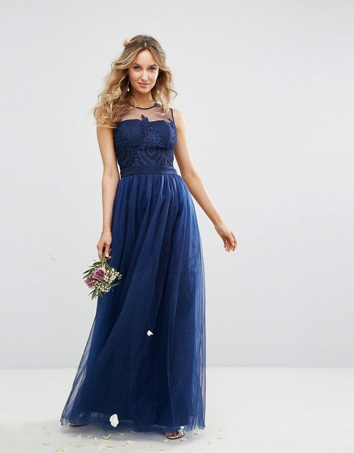 Chi Chi London Embroidered Tulle Maxi Dress With Button Back Asos Bridesmaid Dress Maxi Dress Prom Pretty Bridesmaid Dresses