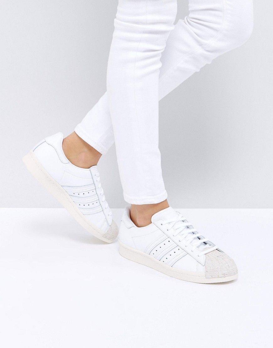 758aa1320951 ADIDAS ORIGINALS ADIDAS ORIGINALS WHITE SUPERSTAR 80S SNEAKERS WITH CORK  TOE CAP - WHITE.  adidasoriginals  shoes