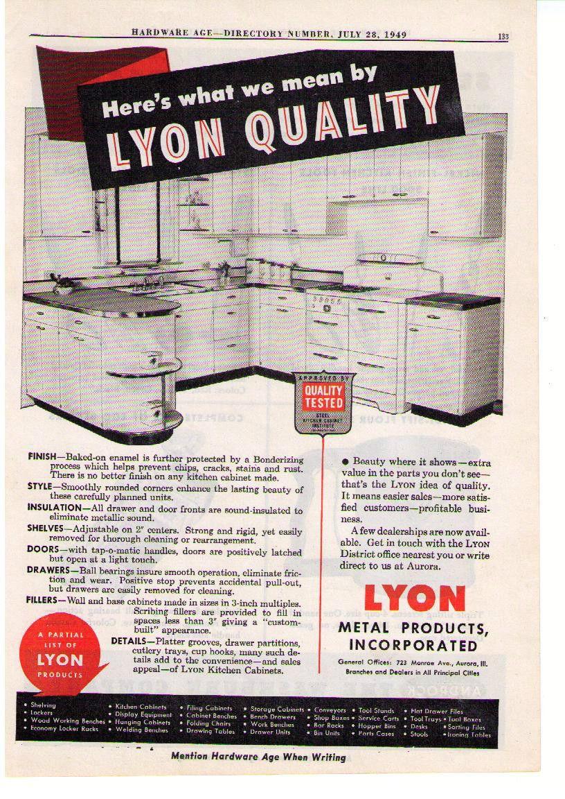 1949 Ad Lyon Metal Products Enamel Steel Cabinets Androck Kitchen Tools Ebay Metal Products Steel Cabinet Metal Kitchen Cabinets