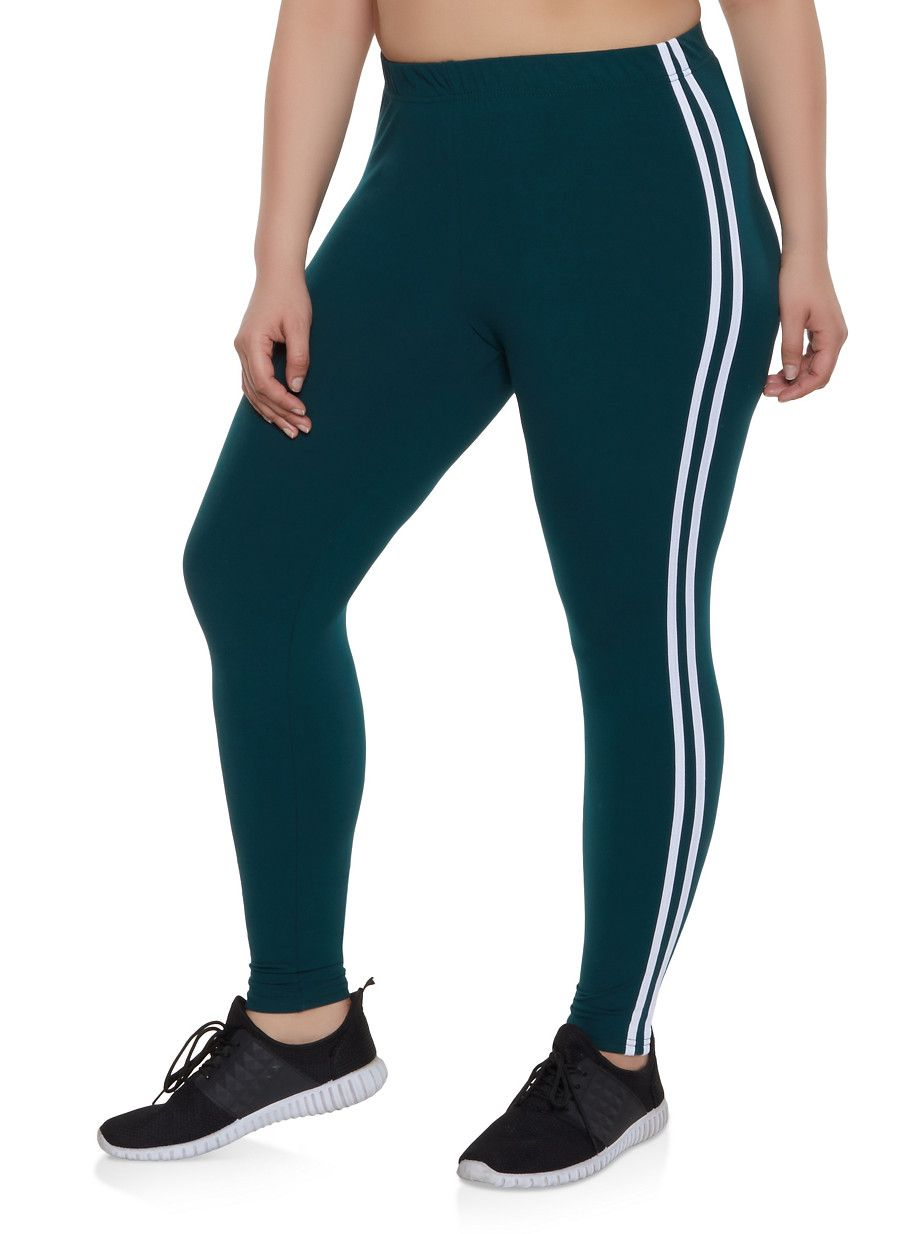 Plus Size Varsity Stripe Leggings | 1969061634918 #stripedleggings