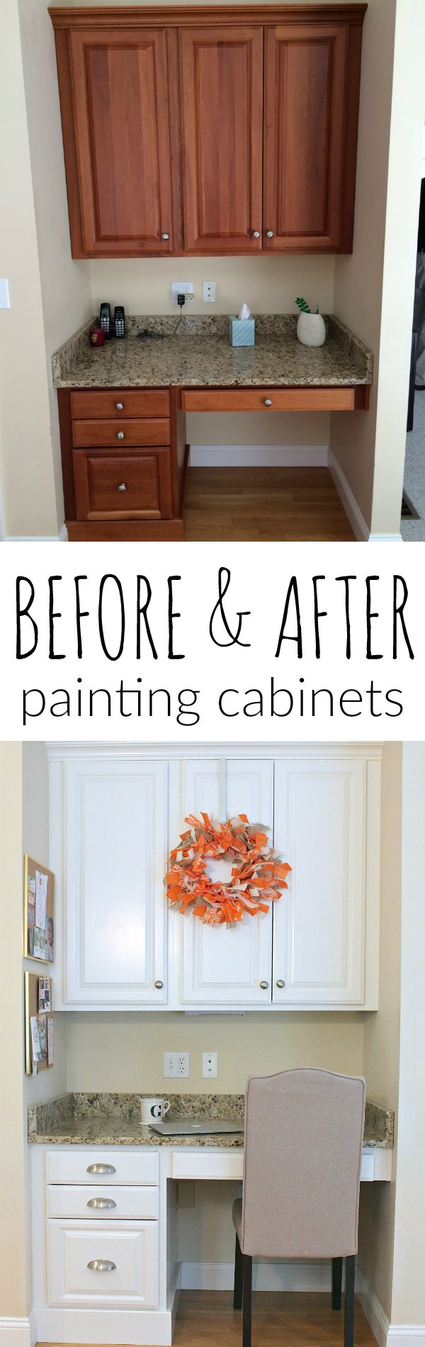 Before and After Painting Brown Kitchen Desk Cabinets ...
