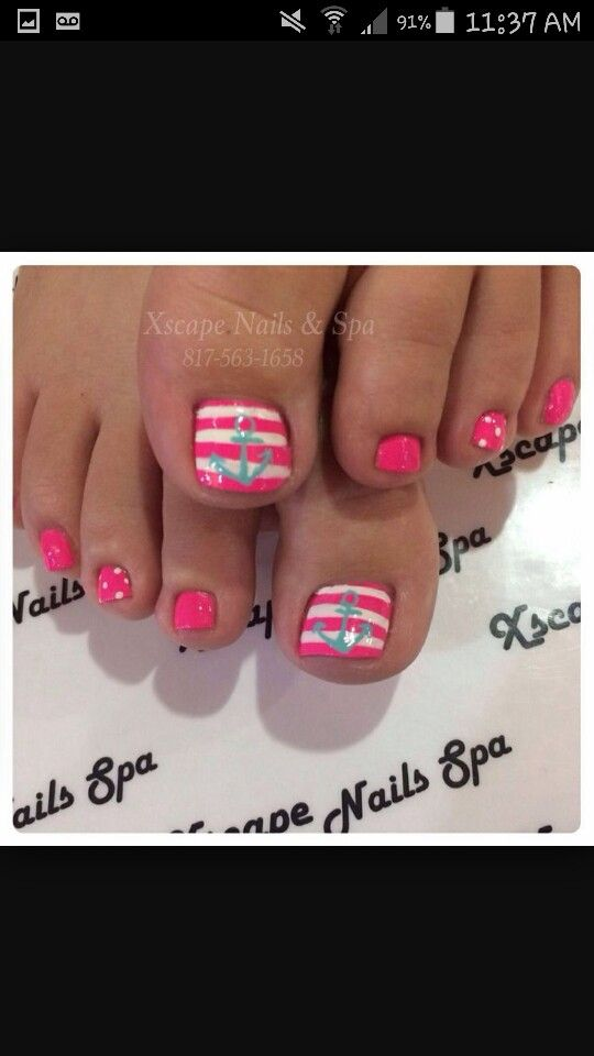 Anchor toenails:) Pedicure Nail Art, Manucure Pedicure, Toe Nail Art, Beach - Anchor Toenails:) Toenails<3 Pinterest Nails, Toe Nail Designs