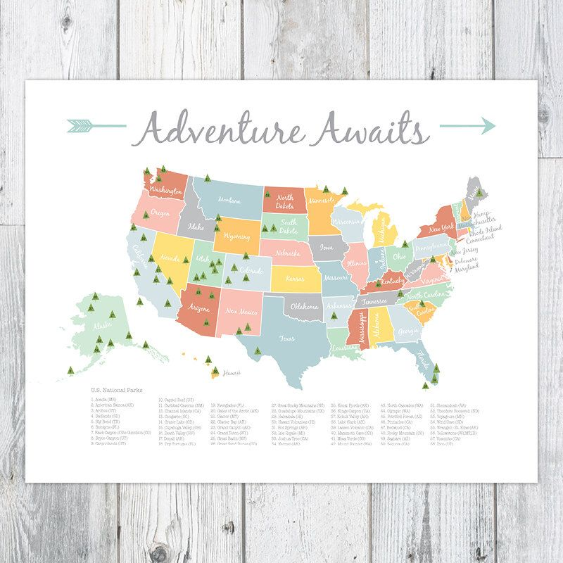 Adventure awaits us national park map nurserykids print 16x20 adventure awaits us national park map nurserykids print 16x20 by perpetualdaydreaming gumiabroncs Image collections