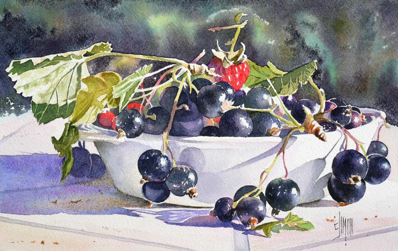 Cassis Groseilles En Rouge Et Noir Nature Morte Fruits