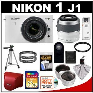 Amazon.com: Nikon 1 J1 Digital Camera Body with 10-30mm VR Lens (White) & 30-110mm VR Lens + Red Leather Case + 32GB Card + Filters + Tripod + Remote + Wide Angle & Telephoto Lenses + Accessory Kit: NIKON: Camera & Photo