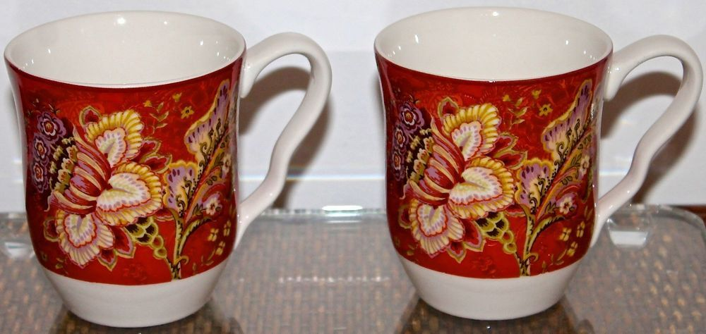 222 fifth gabrielle red set of 2 mug coffee porcelaine new in box