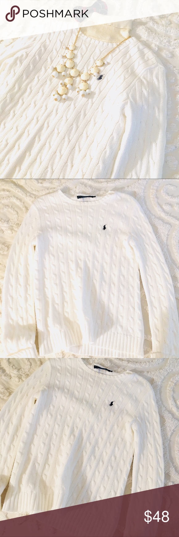 Ralph Lauren Bright White Cable Knit Sweater | Cable knit sweaters ...