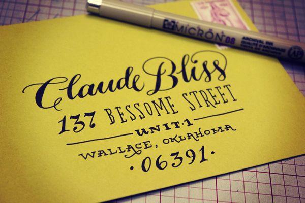 Envelope Address Hand Lettering Tutorial from Ladyfingers Letterpress