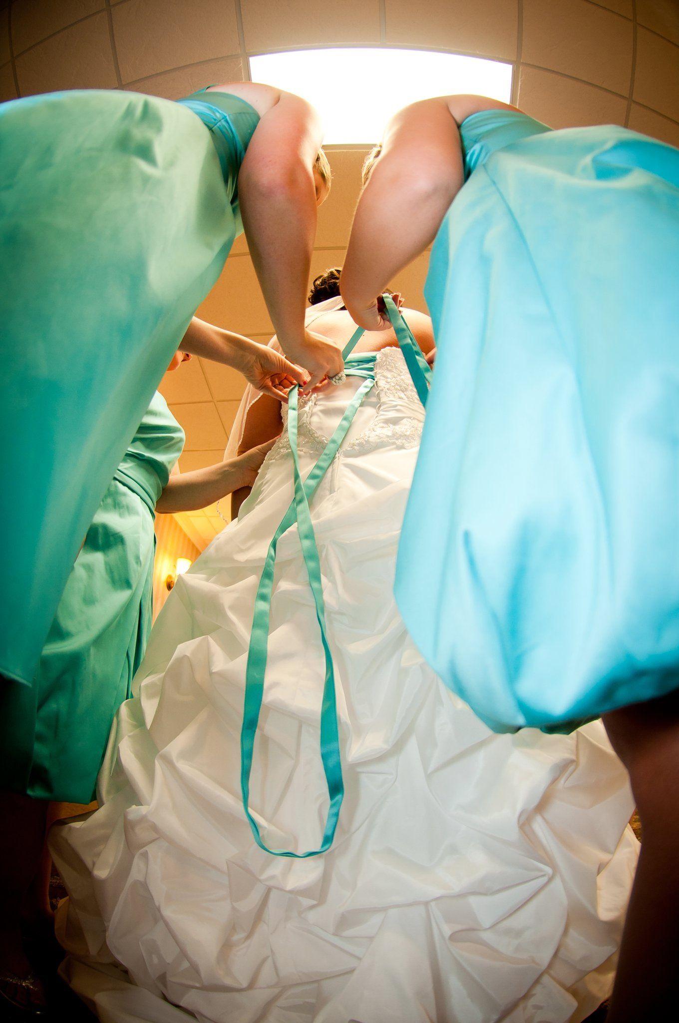Handmade pool blue ribbon for corset back on davidus bridal wedding