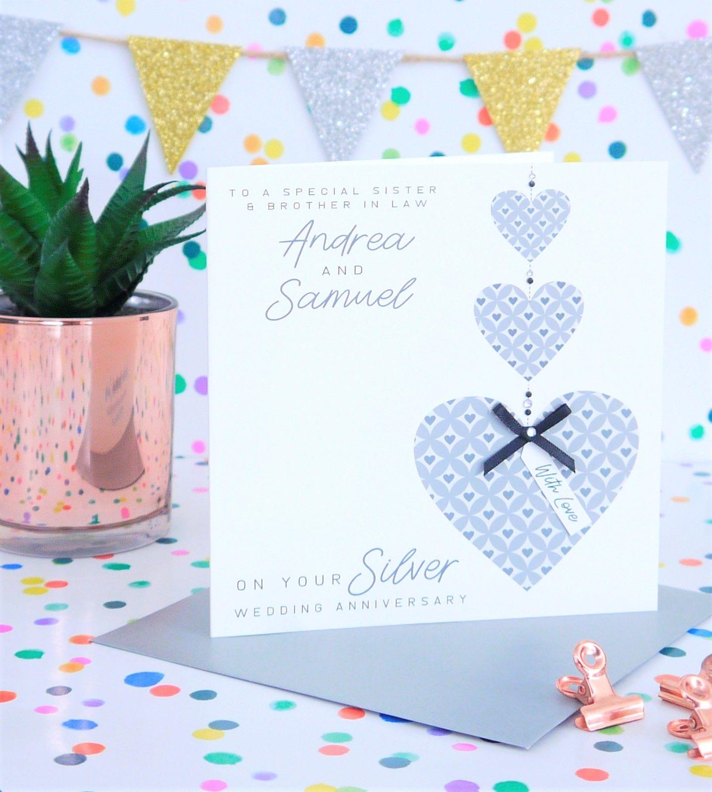 Personalised Handmade Silver25th Wedding Anniversary Card Design