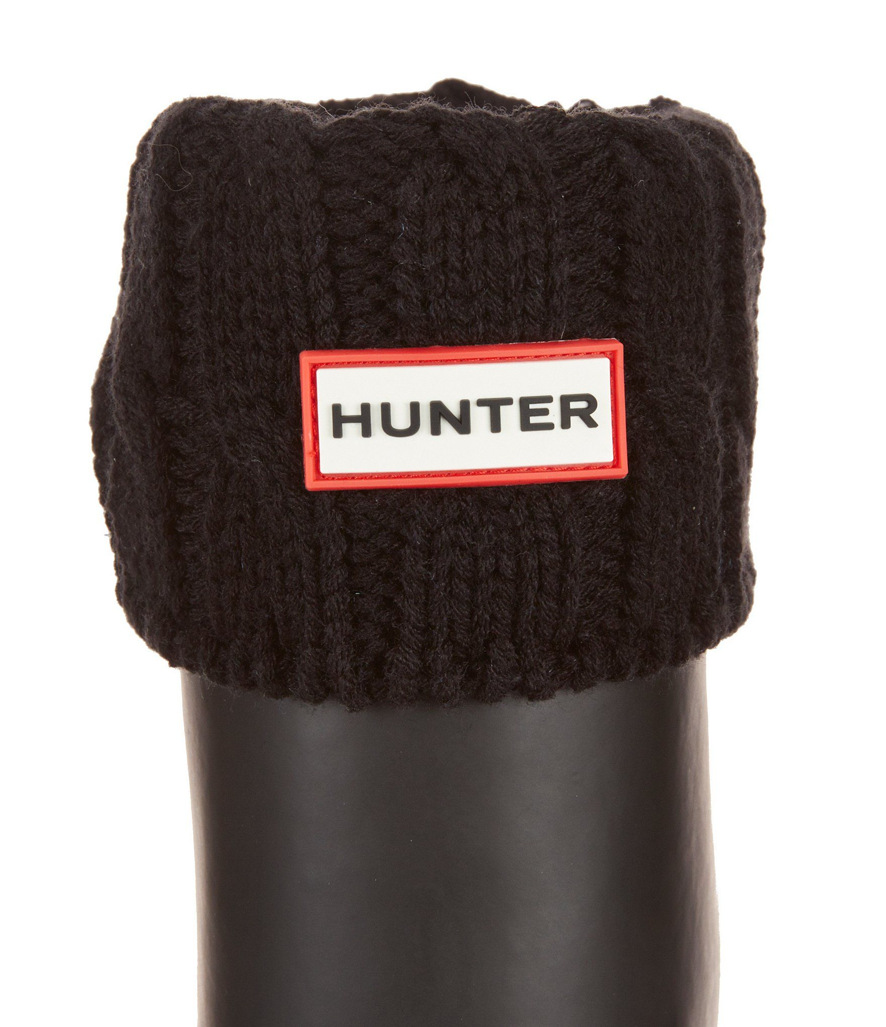 From Hunter Original, the Six-Stitch cable tall boot socks feature:    microfleece with contrast six-stitch cable knit cuff  polyfleece leg  can be worn folded over to add contrast detail  designed to enhance the fit of the Original Tall rain boots  presented in exclusive Hunter packaging  polyester, acrylic  machine wash Imported.