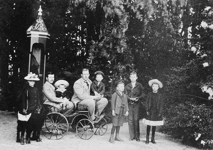 An extended family group photo in Denmark in 1892.From Left to Right:Princess Alexandra of Cumberland,Tsarevich Nikolai Alexandrovich Romanov of Russia,Prince Christopher of the Hellenes,Prince George of the Hellenes,Prince Ernst Augustus of Cumberland,Prince Christian of Cumberland,Prince Georg Wilhelm of Cumberland,Princess Olga of Cumberland.A♥W