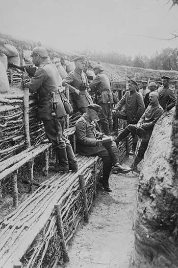 German Soldiers relax in their deep trenches which in the Stalemates of WWI  have become a home. - Art Print | Wwi, World war one, World war i