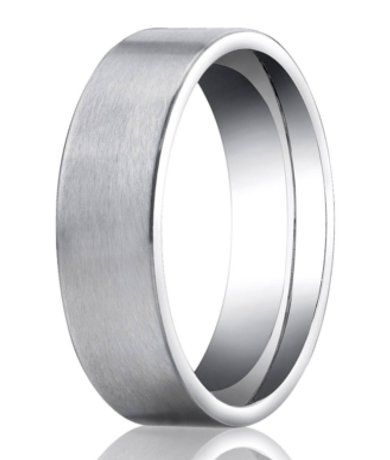 designer platinum mens wedding ring with flat profile 6mm