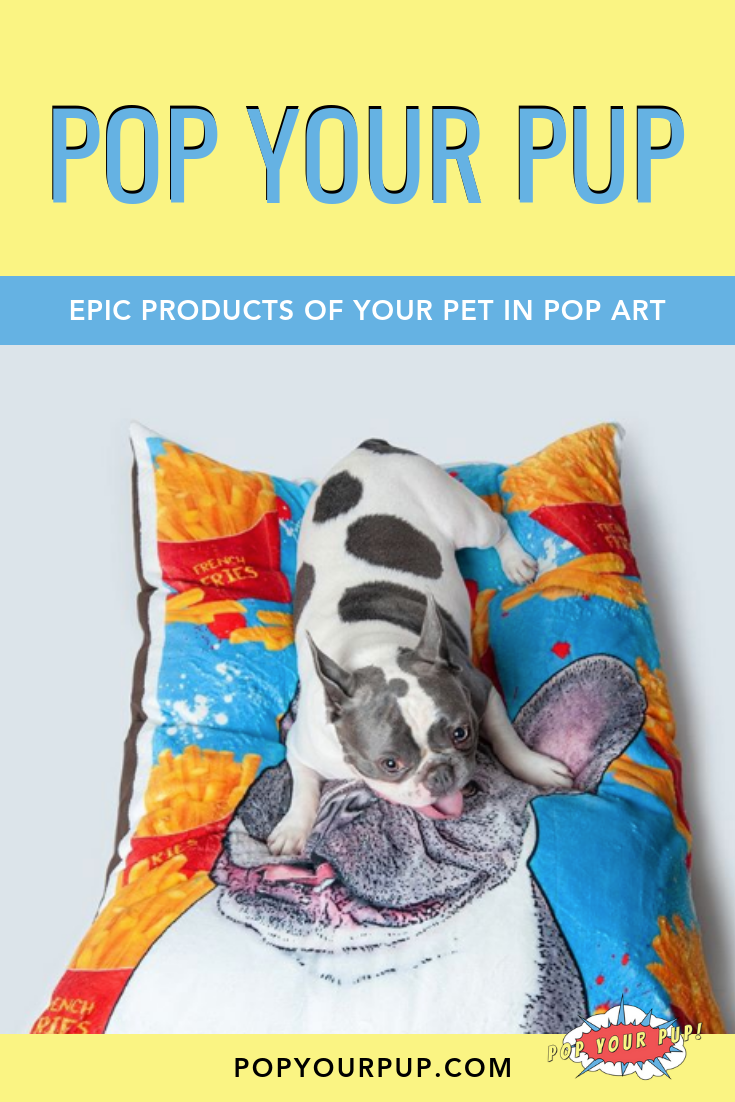 A Custom Dog Bed Featuring A Portrait Of Your Pet In Pop Art Will