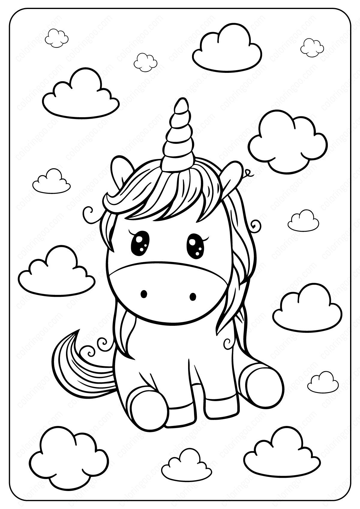 Cute Unicorn Coloring Page In 2021 Bunny Coloring Pages Unicorn Coloring Pages Coloring Pages