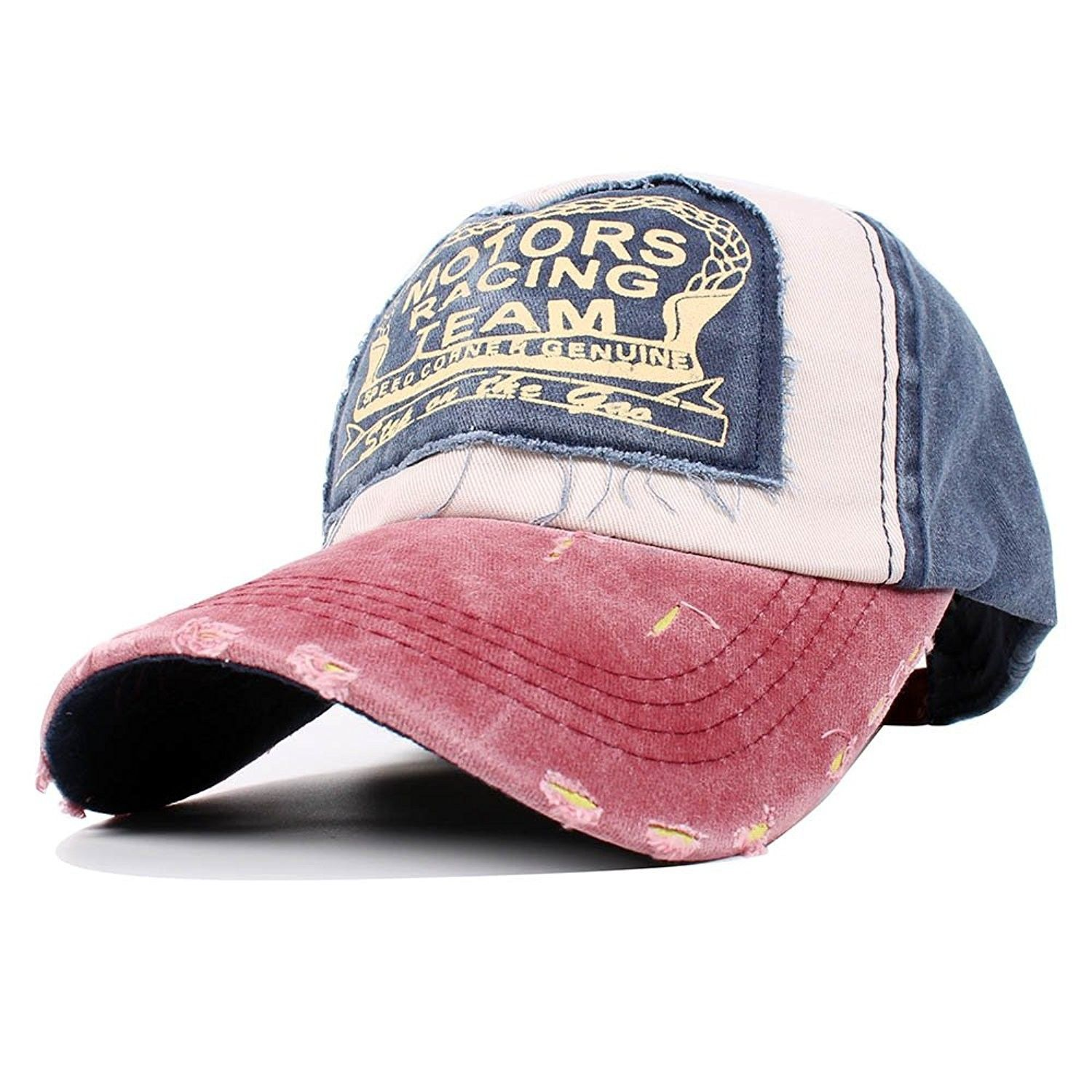 Vintage Washed Denim Cotton Sports Baseball Cap For Women and Men -  Burgundynavy - CS185ZX589L - 10f61652face