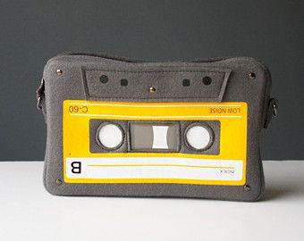 Cassette compacto fieltro bolsa monedero de amante de música