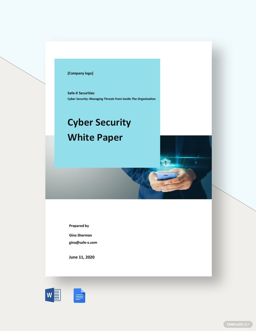 Editable Cyber Security White Paper Template Word Doc Google Docs Cyber Security Paper Template White Paper
