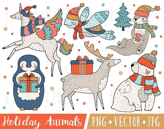 Christmas Illustrations.Festive Holiday Animal Clipart Images Christmas