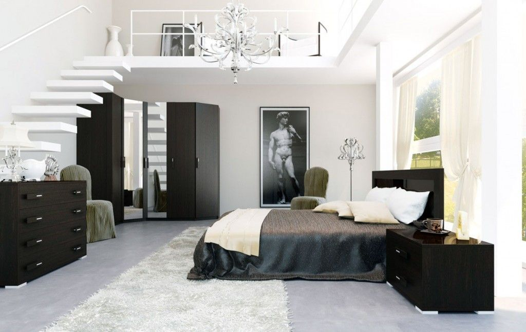 Color Design For Bedroom Unique Staircase In A Bedroom  Contemporary Black White Interior Design Ideas
