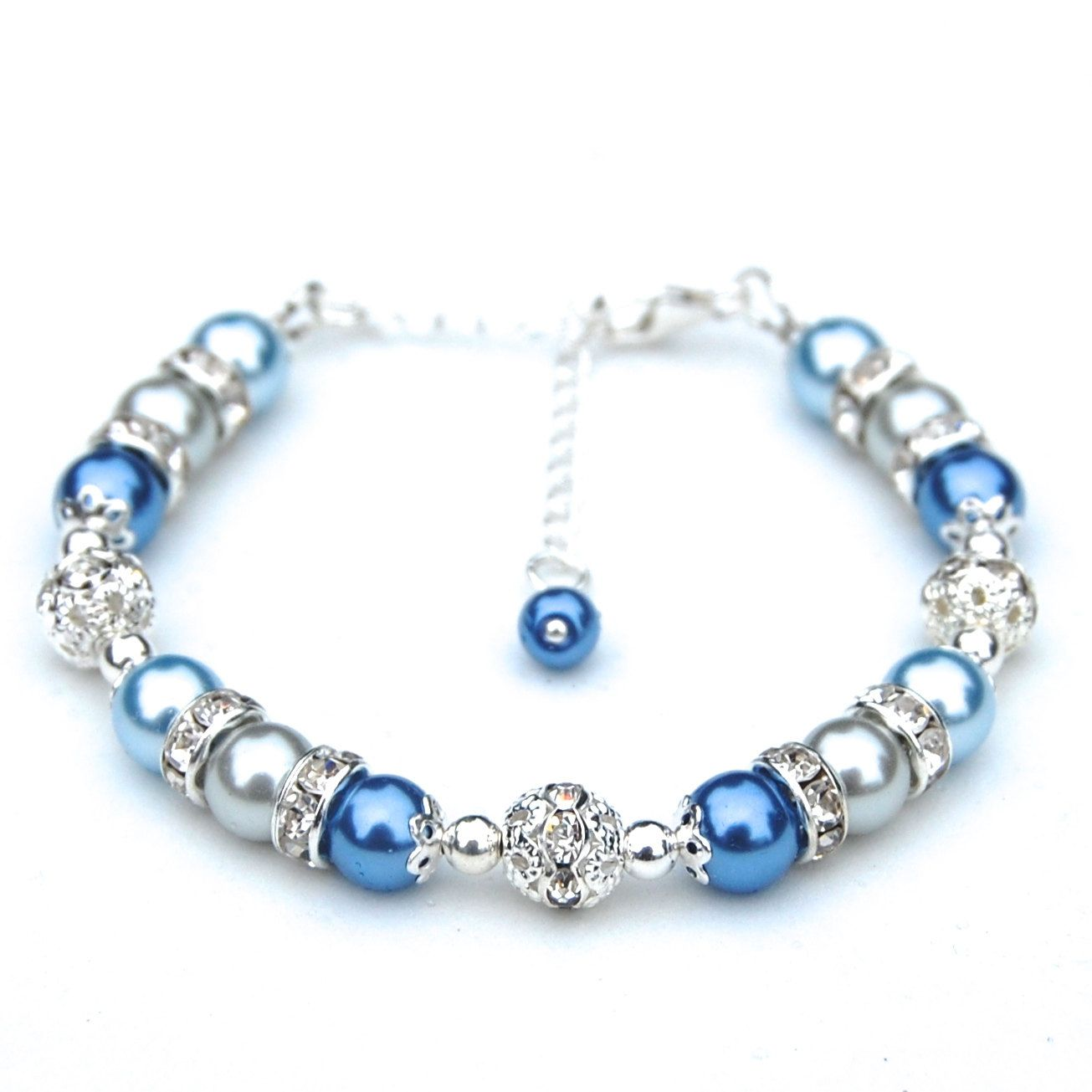 Bridesmaid Jewelry, Pale Blue and Silver Gray Pearl Rhinestone Bracelet, Bridesmaid Gifts by AMIdesigns on Etsy