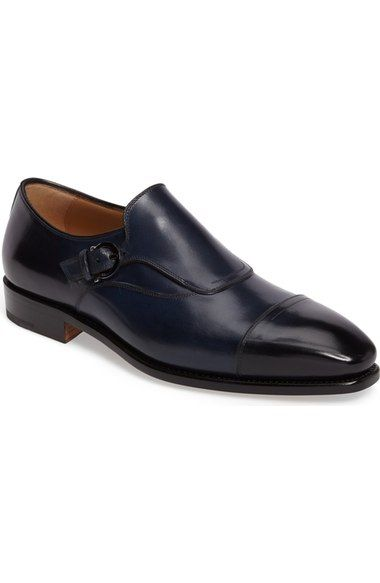 SALVATORE FERRAGAMO Faustino Cap Toe Monk Strap Shoe (Men). # salvatoreferragamo #shoes