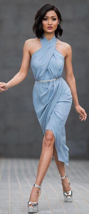 #street #style #womens #fashion #spring #outfitideas | Baby blue criss cross neckline midi dress