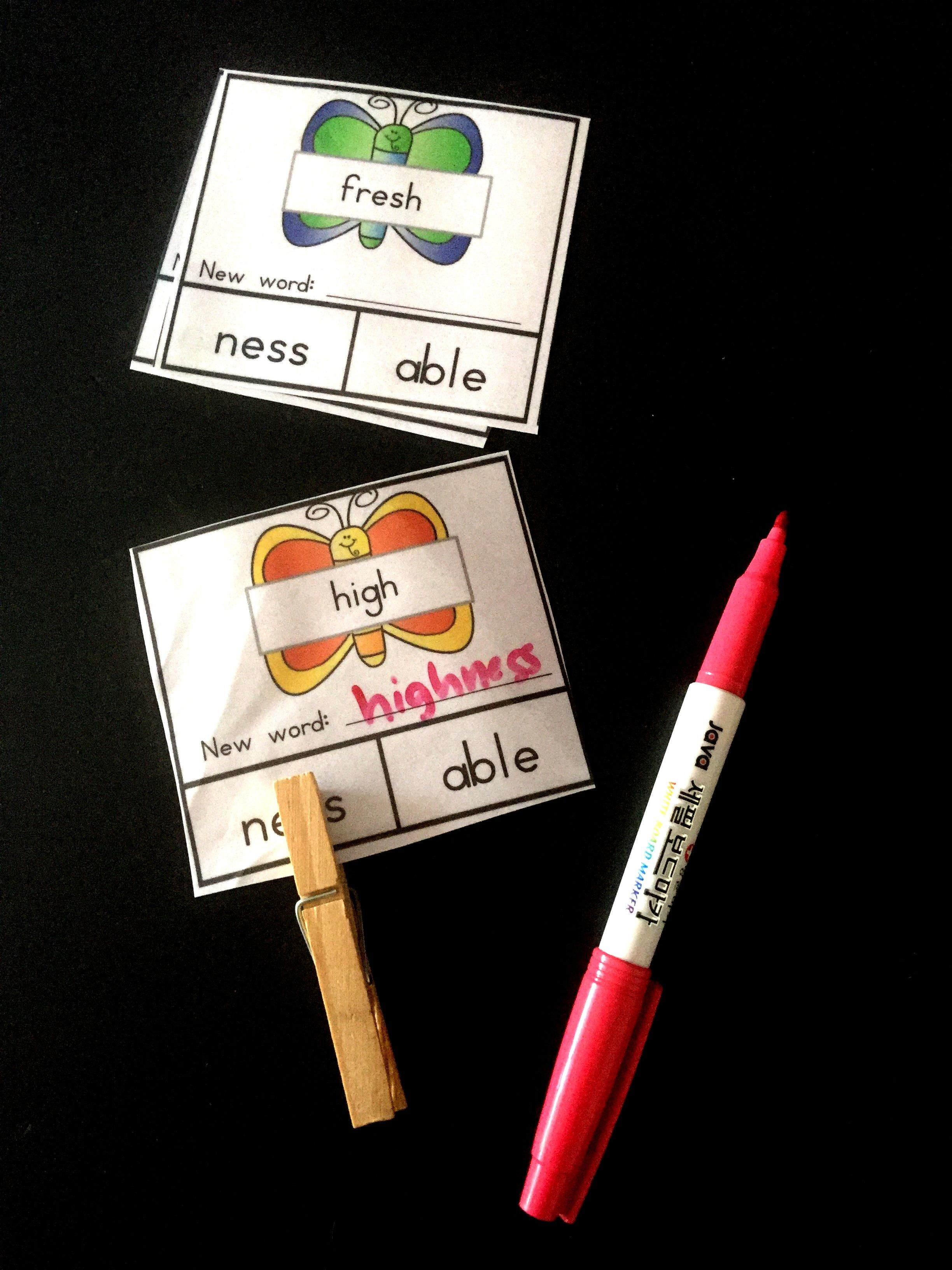 Suffix Puzzles Spring Themed Write Amp Wipe Cards