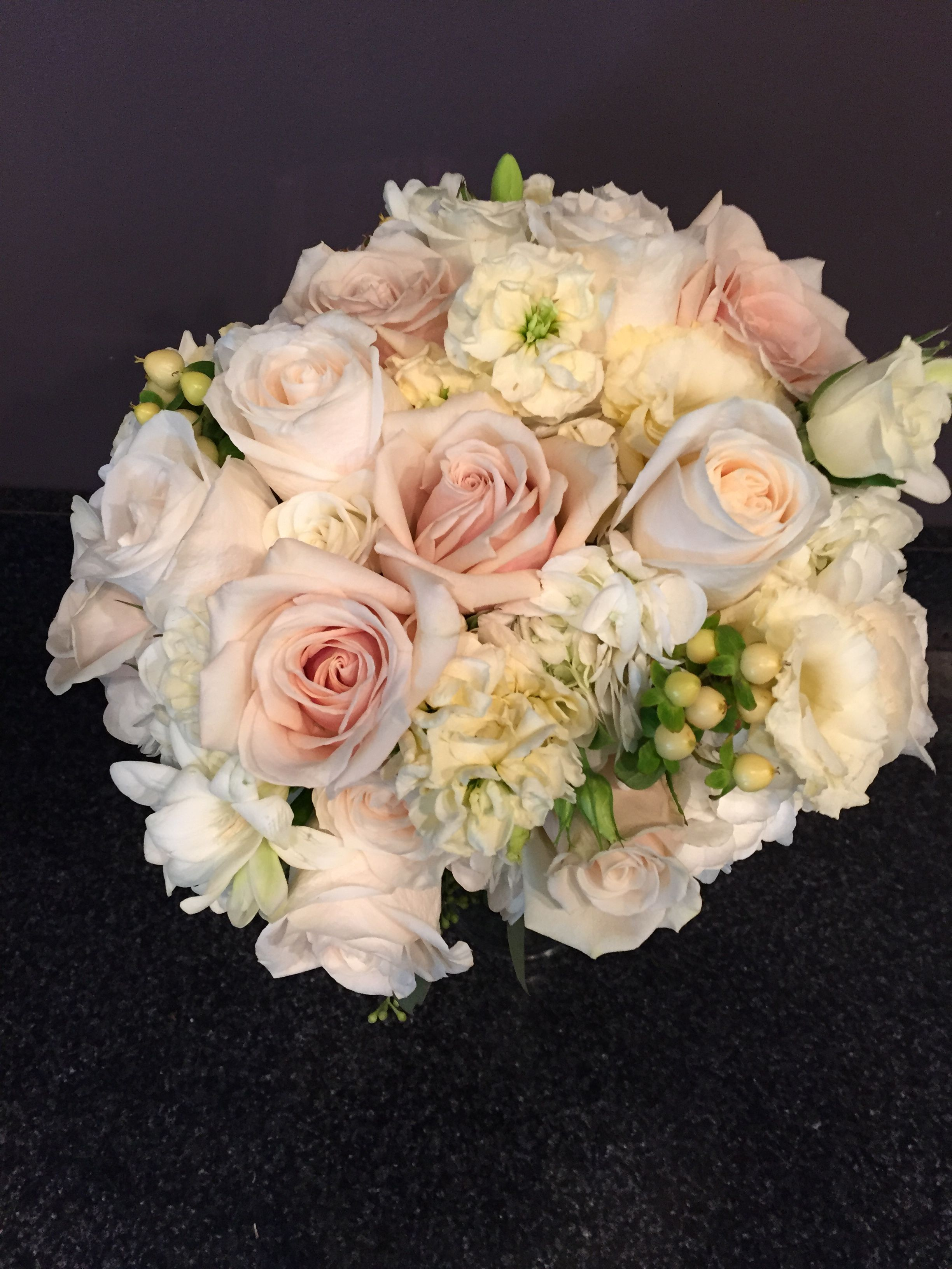 Romantic Traditional Bridal Bouquet Of Roses Hydrangea And Stock Bridalbouquet Hydrangea Rose Fresh Flowers Arrangements Flowers Delivered Flower Delivery