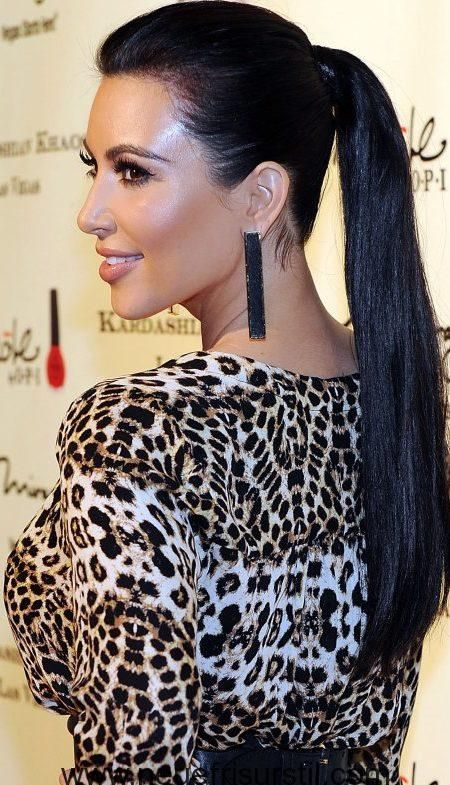 Kim Kardashian Lange Pferdeschwanz Frisur Stars Frisuren