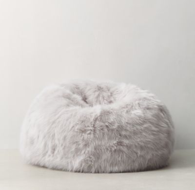 Wondrous Kashmir Faux Fur Bean Bag Light Grey 45 Diameter Faux Ibusinesslaw Wood Chair Design Ideas Ibusinesslaworg