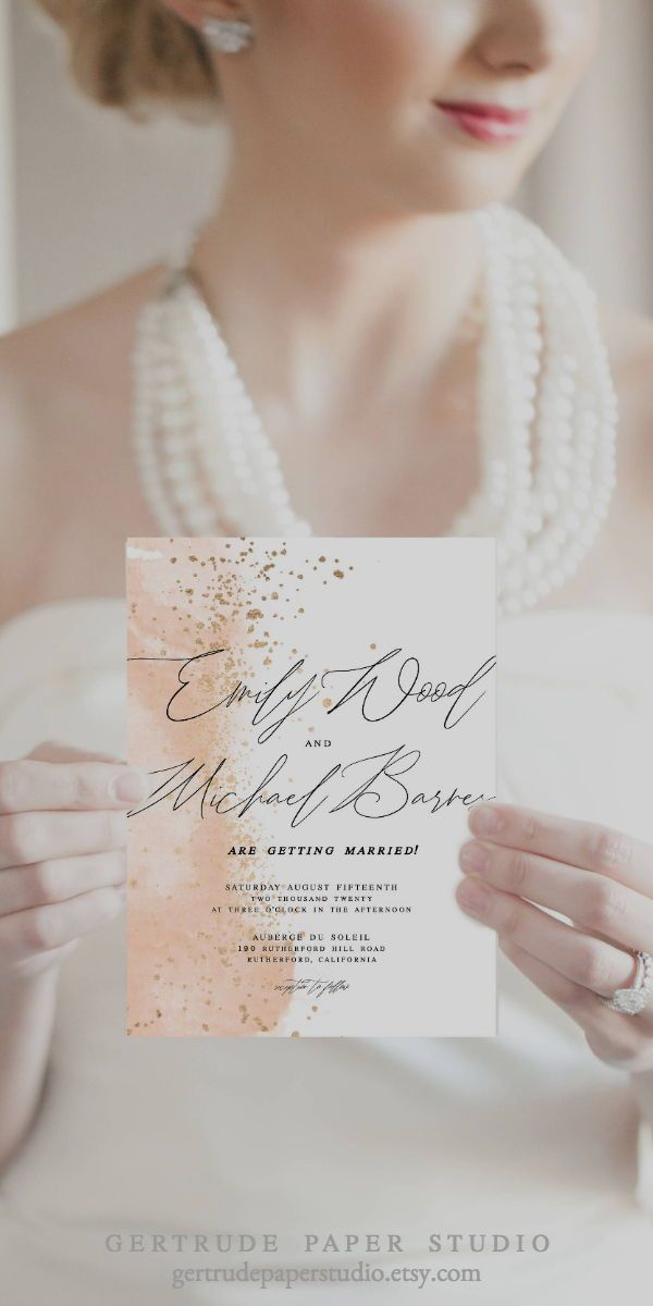 Pink Watercolor Wedding Invitation Shabby Chic Invitation Instant