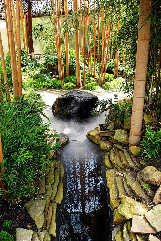 outdoor areas zen garden with bamboo pond