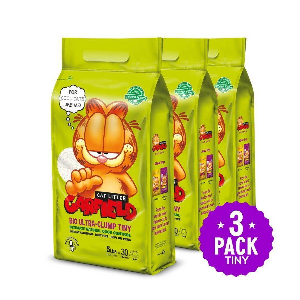 Garfield Cat Litter All Natural Fast Clumping Purrfect For Multi Cat Homes Dust Free Chemical Free Clay Free In 2020 Flushable Cat Litter Cat Litter Garfield Cat