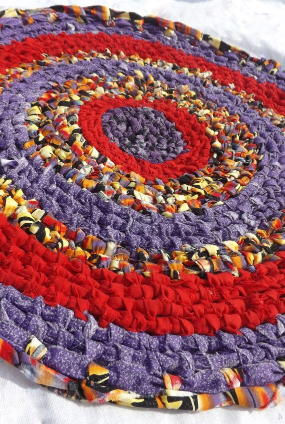 Rag Rug Toothbrush Amish Knotted W Red