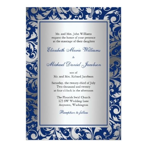 Formal Wedding Invitations Navy Blue And Silver Damask Swirls