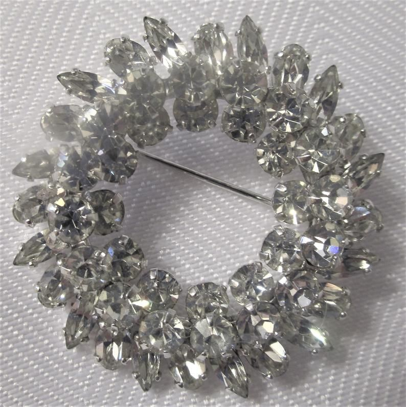 Silver Brooch Wedding Accessories Crystal Brooch with Pin On The Back Wedding Jewelry 1.75 inches Rhinestone Silver Brooch