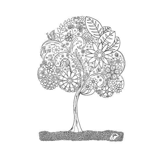 Ausmalbilder Erwachsene Baum