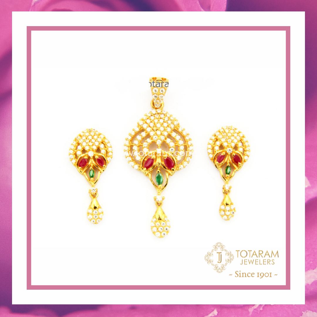 K gold pendant u earrings set with cz u color stones indian gold
