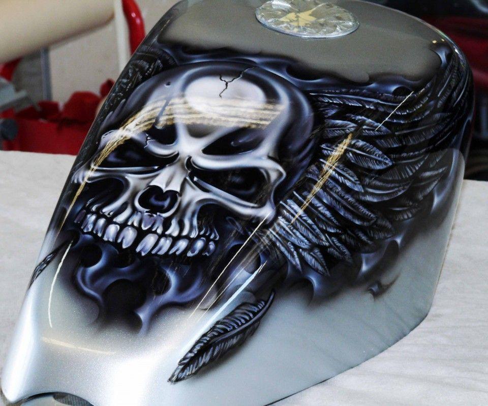 Motorcycle Airbrush Painting Skulls